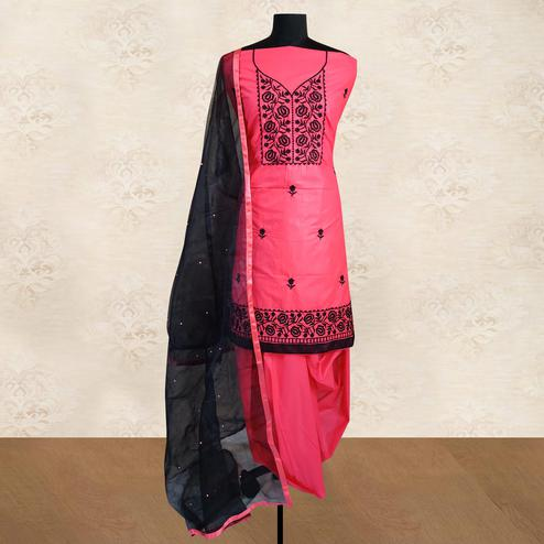 IRIS - Pink Colored Partywear Floral Embroidered Cotton Patiala Dress Material