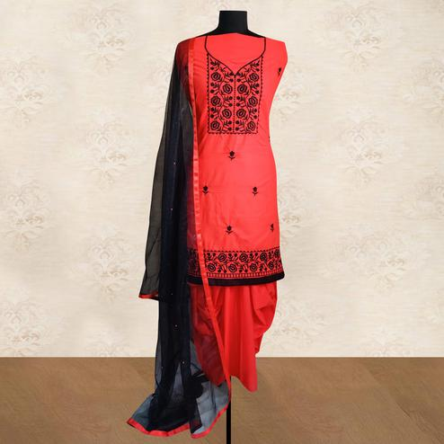 IRIS - Red Colored Partywear Floral Embroidered Cotton Patiala Dress Material