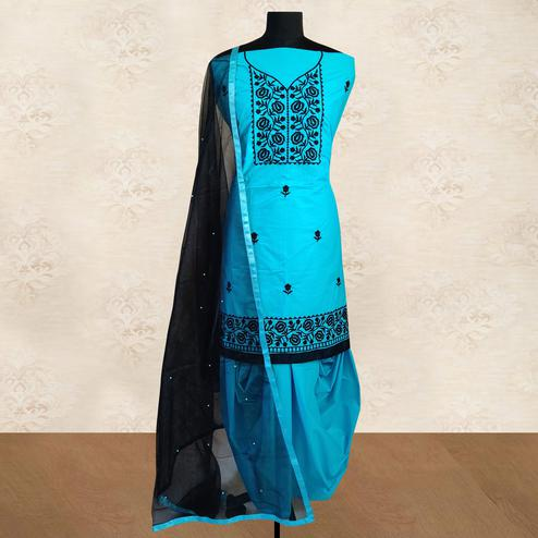 IRIS - Sky Blue Colored Partywear Floral Embroidered Cotton Patiala Dress Material