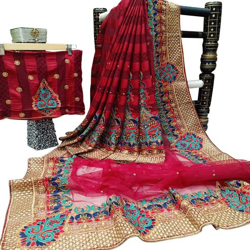 Charming Maroon-Red Colored Festive Wear Woven Art Silk-Net Half Half Saree