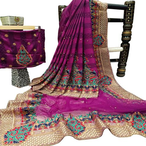 Jazzy Purple Colored Festive Wear Woven Art Silk-Net Half Half Saree