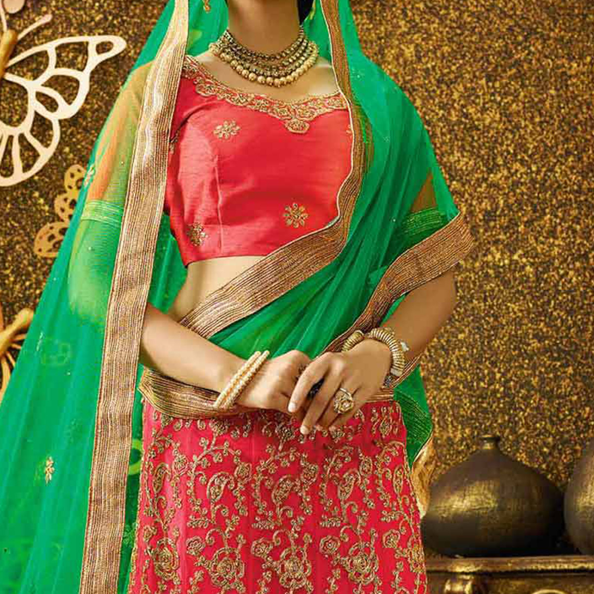 Sensational Pink-Green Designer Net Embroidered Lehenga Choli With Net Dupatta