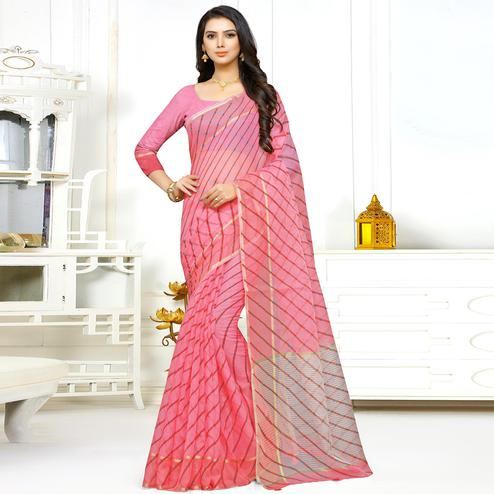Hypnotic Pink Colored Casual Wear Stripe Printed Kota Doria Saree With Tassels