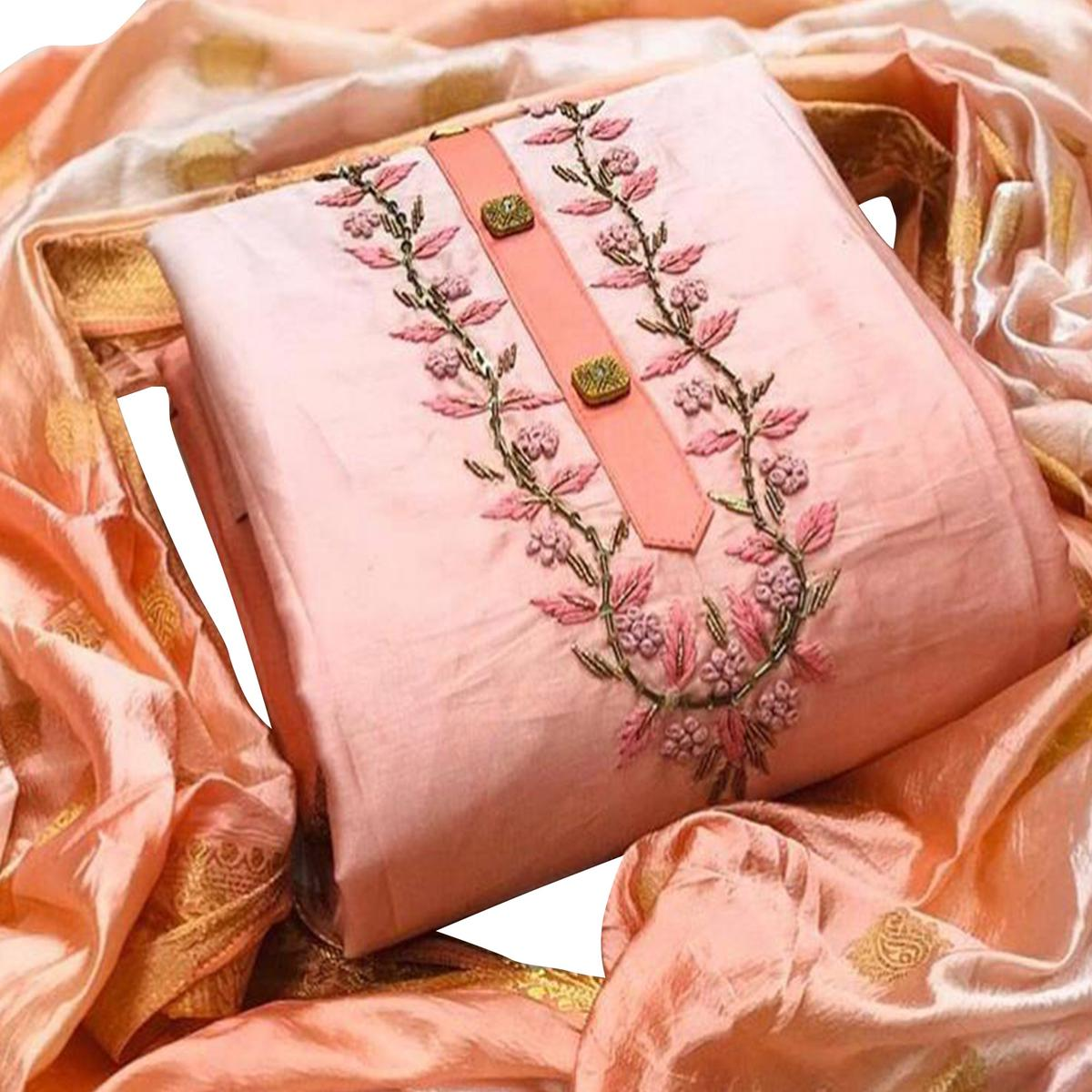 Trendy Pink Colored Partywear Embroidered Jam Silk Dress Material