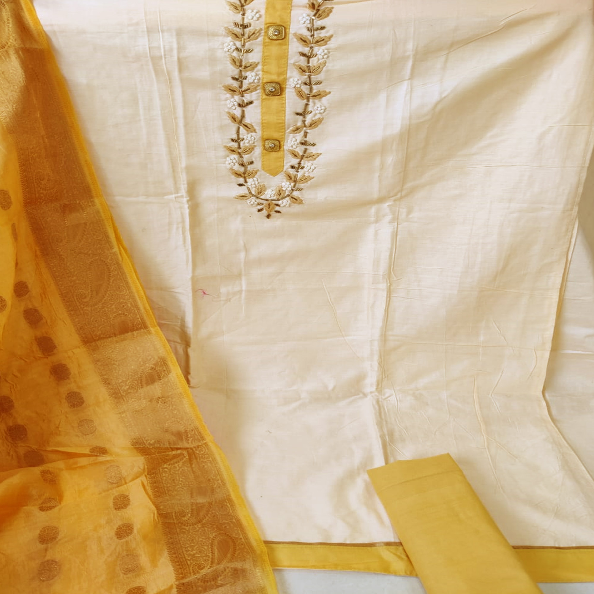 Radiant Beige Colored Partywear Embroidered Jam Silk Dress Material