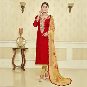 Red - Beige Embroidered Chanderi Suit