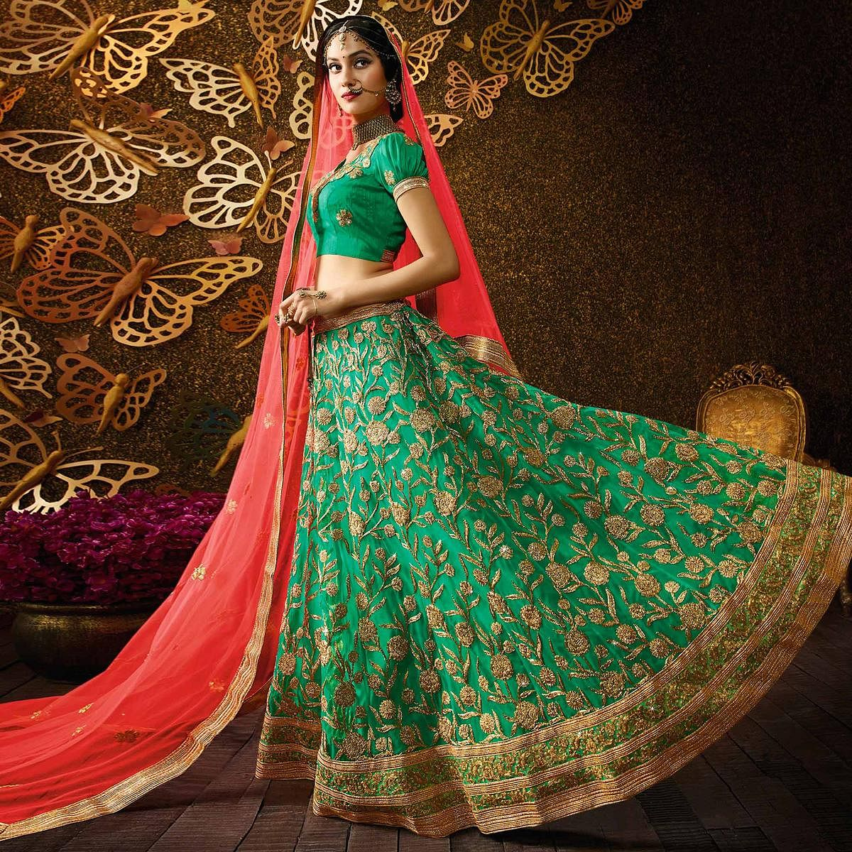 Dazzling Rama Green-Peach Designer Net Embroidered Lehenga Choli With Net Dupatta