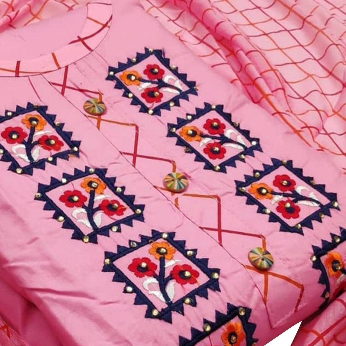 Energetic Pink Colored Partywear Embroidered Cotton Dress Material