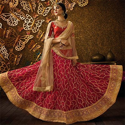 Traditional Red-Beige Designer Net Embroidered Lehenga Choli With Net Dupatta