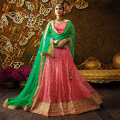 Charming Gajri-Green Designer Net Embroidered Lehenga Choli With Net Dupatta