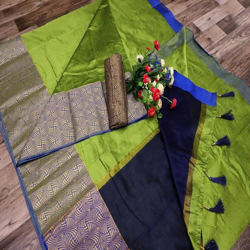 Classy Green Colored Festive Wear Printed Banarasi Silk Saree With Tassels