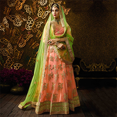 Delightful Peach-Green Designer Net Embroidered Lehenga Choli With Net Dupatta