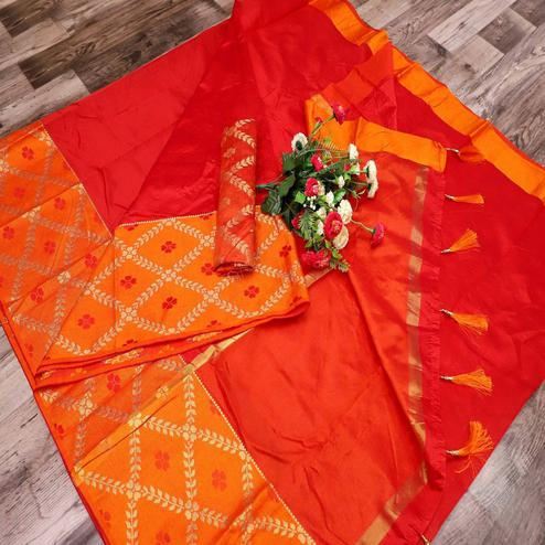 Sensational Red Colored Festive Wear Printed Banarasi Silk Saree With Tassels