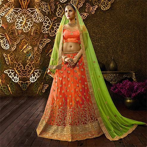 Lovely Orange-Green Designer Net Embroidered Lehenga Choli With Net Dupatta