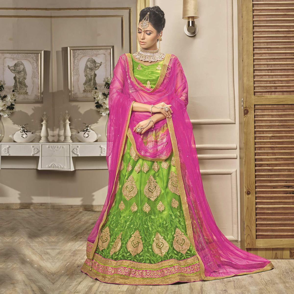 Elegant Parrot Green - Rani Designer Net Embroidered Lehenga Choli With Net Dupatta