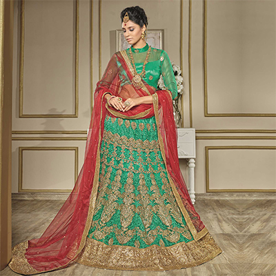 Traditional Green-Red Designer Net Embroidered Lehenga Choli With Net Dupatta