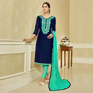 Navy Blue - Aqua Green Embroidered Suit