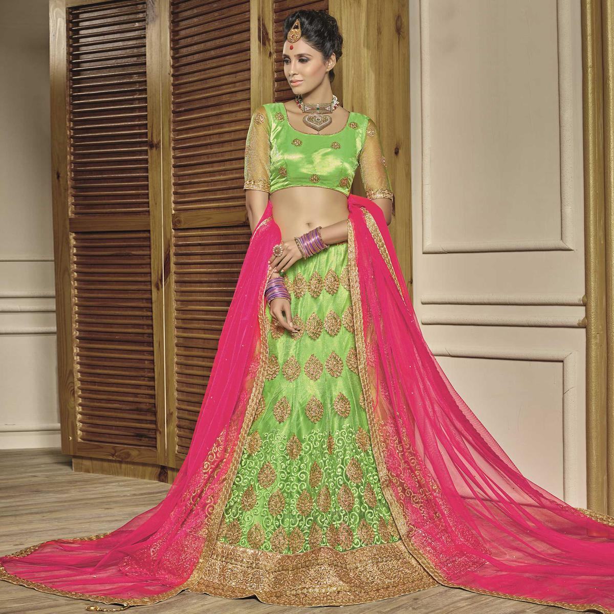 0de1318001 Buy Stunning Pista Green-Pink Designer Net Embroidered Lehenga Choli With  Net Dupatta for womens online India, Best Prices, Reviews - Peachmode