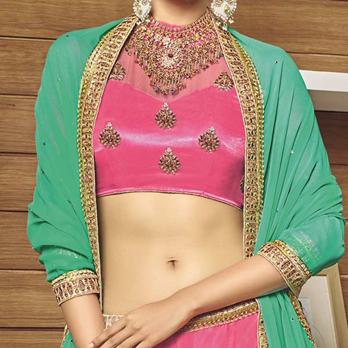 Charming Pink-Green Designer Net Embroidered Lehenga Choli With Chiffon Dupatta