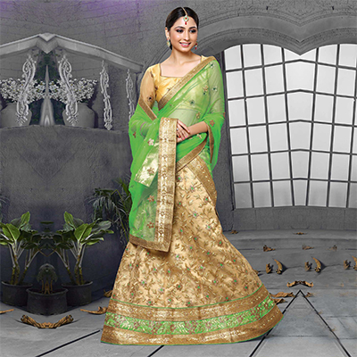 Chikku-Parrot Green Designer Embroidered Net Lehenga Choli