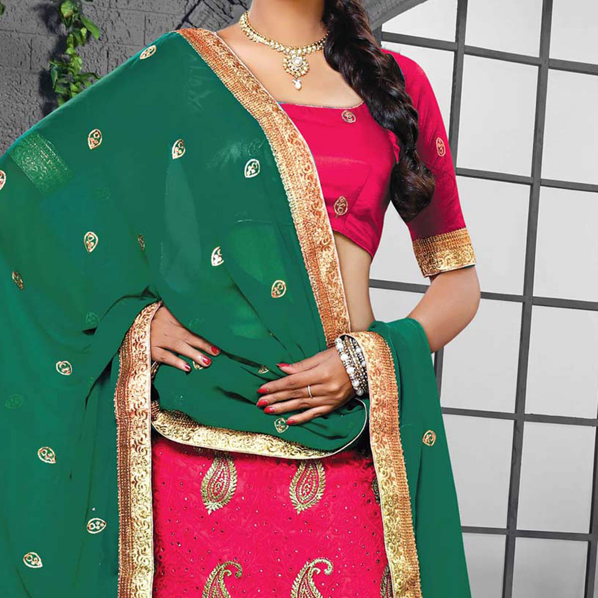 Rani-Rama Green Designer Embroidered Georgette Lehenga Choli