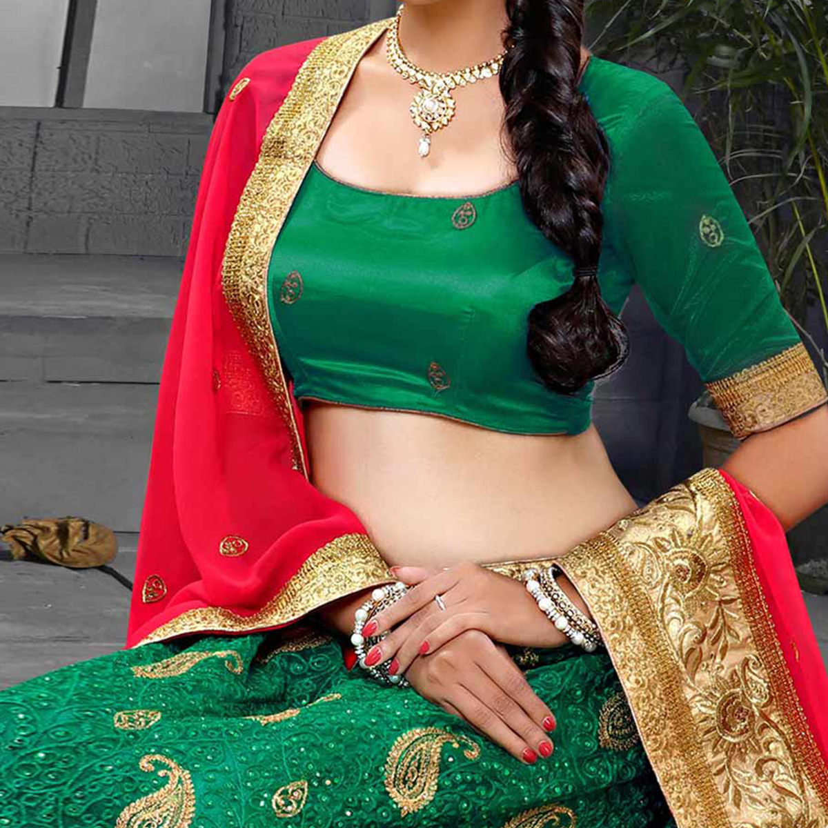 Rama Green-Gajri Designer Embroidered Georgette Lehenga Choli