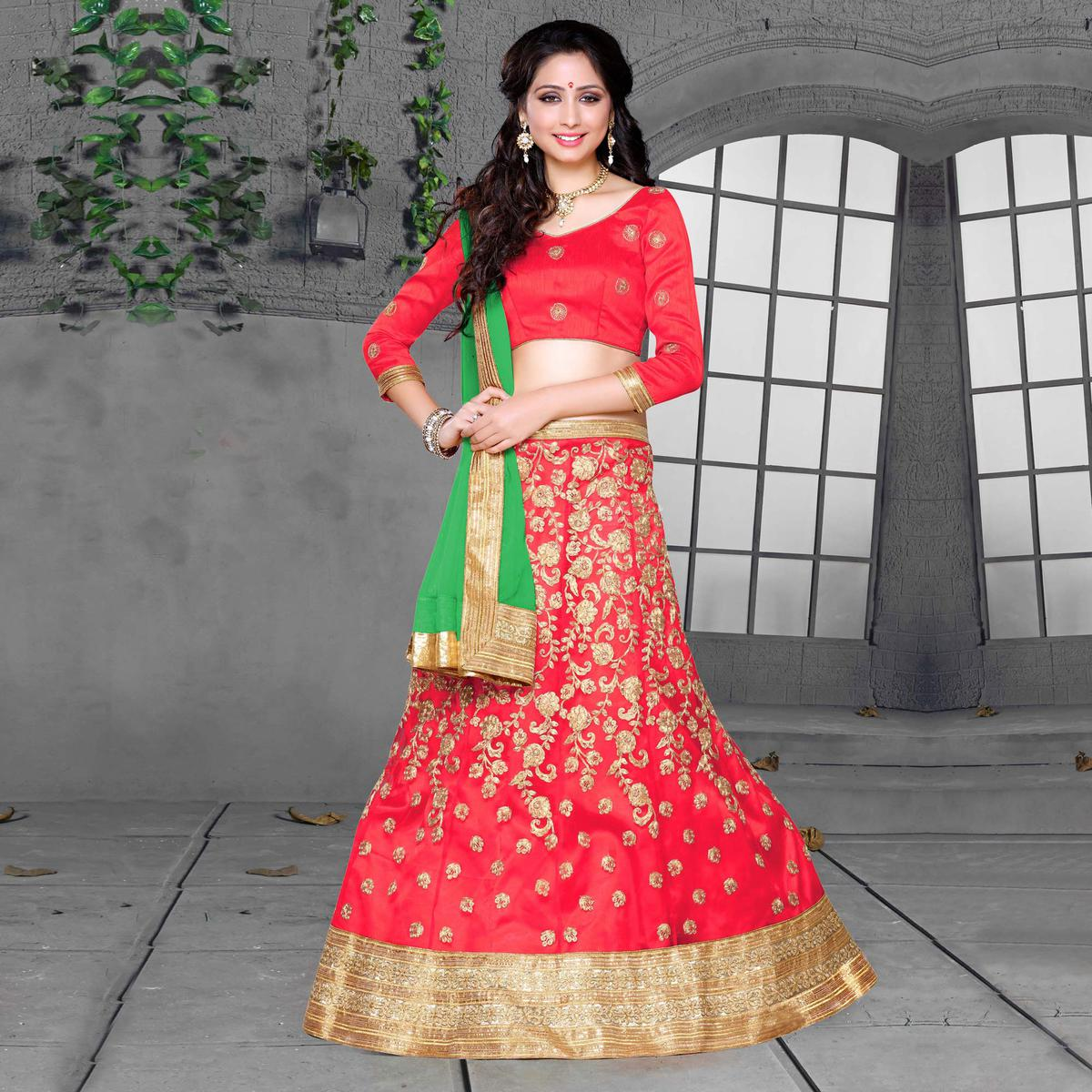 Gajri-Green Designer Embroidered Net Lehenga Choli
