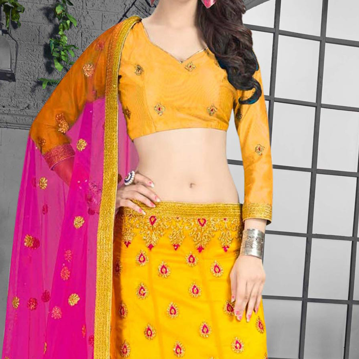 Mustard Yellow - Rani Designer Embroidered Net Lehenga Choli
