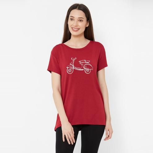 Mystere Paris - Maroon Colored Comfy Cotton Lounge T-shirt