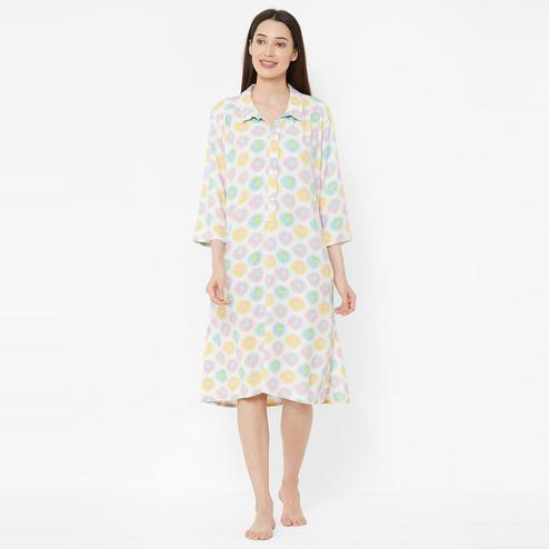 Mystere Paris - White Multicolour Colored Quirky Orange Flared Rayon Sleep Dress