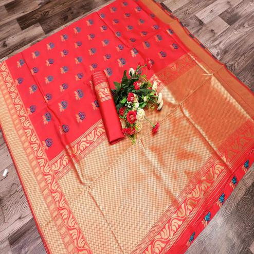 Exotic Coral Red Colored Festive Wear Printed Banarasi Silk Saree