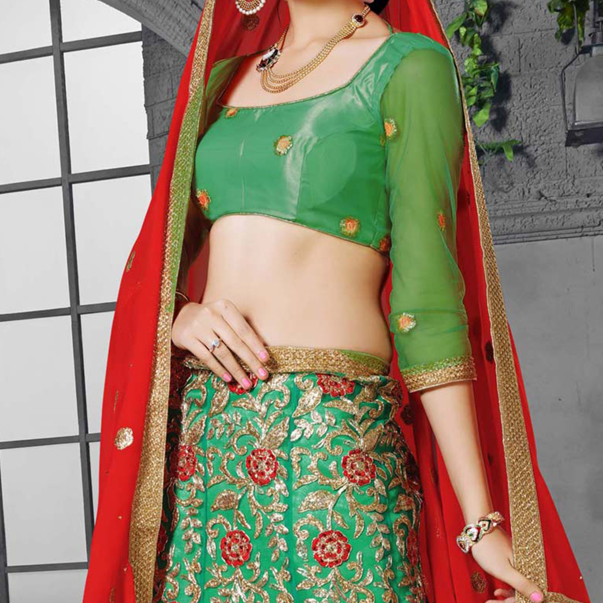 Rama Green - Red Designer Embroidered Net Lehenga Choli