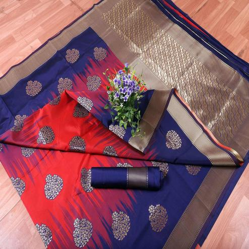 Pleasant Red-Blue Colored Festive Wear Printed Banarasi Silk Saree