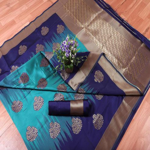 Opulent Blue Colored Festive Wear Printed Banarasi Silk Saree