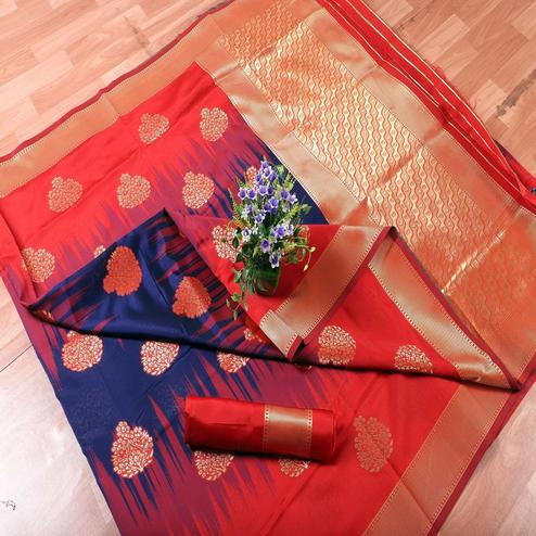 Energetic Blue-Red Colored Festive Wear Printed Banarasi Silk Saree