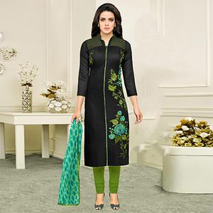 Black - Green Chanderi Dress Material