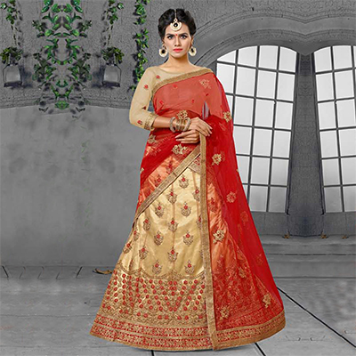 Chikku-Red Designer Embroidered Net Lehenga Choli