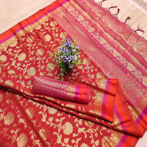 Magnetic Red Colored Festive Wear Printed Banarasi Silk Saree With Tassels