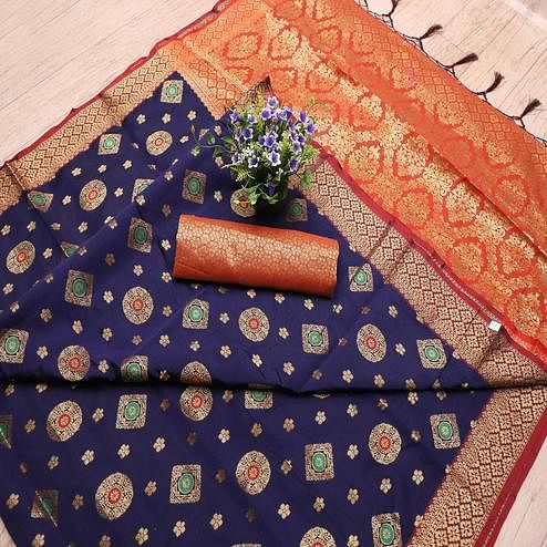 Hypnotic Navy Blue Colored Festive Wear Printed Banarasi Silk Saree With Tassels