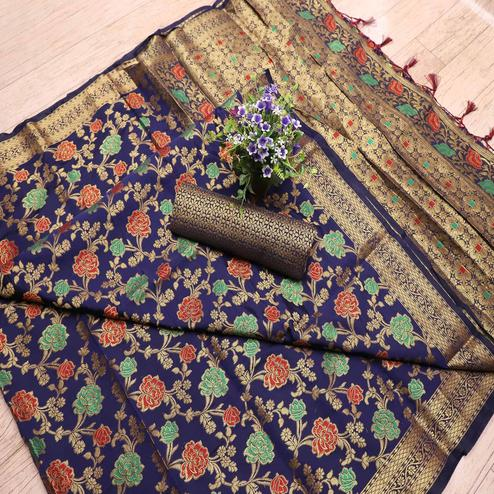 Flattering Navy Blue Colored Festive Wear Printed Banarasi Silk Saree With Tassels