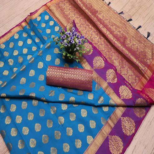Preferable Blue Colored Festive Wear Printed Banarasi Silk Saree With Tassels