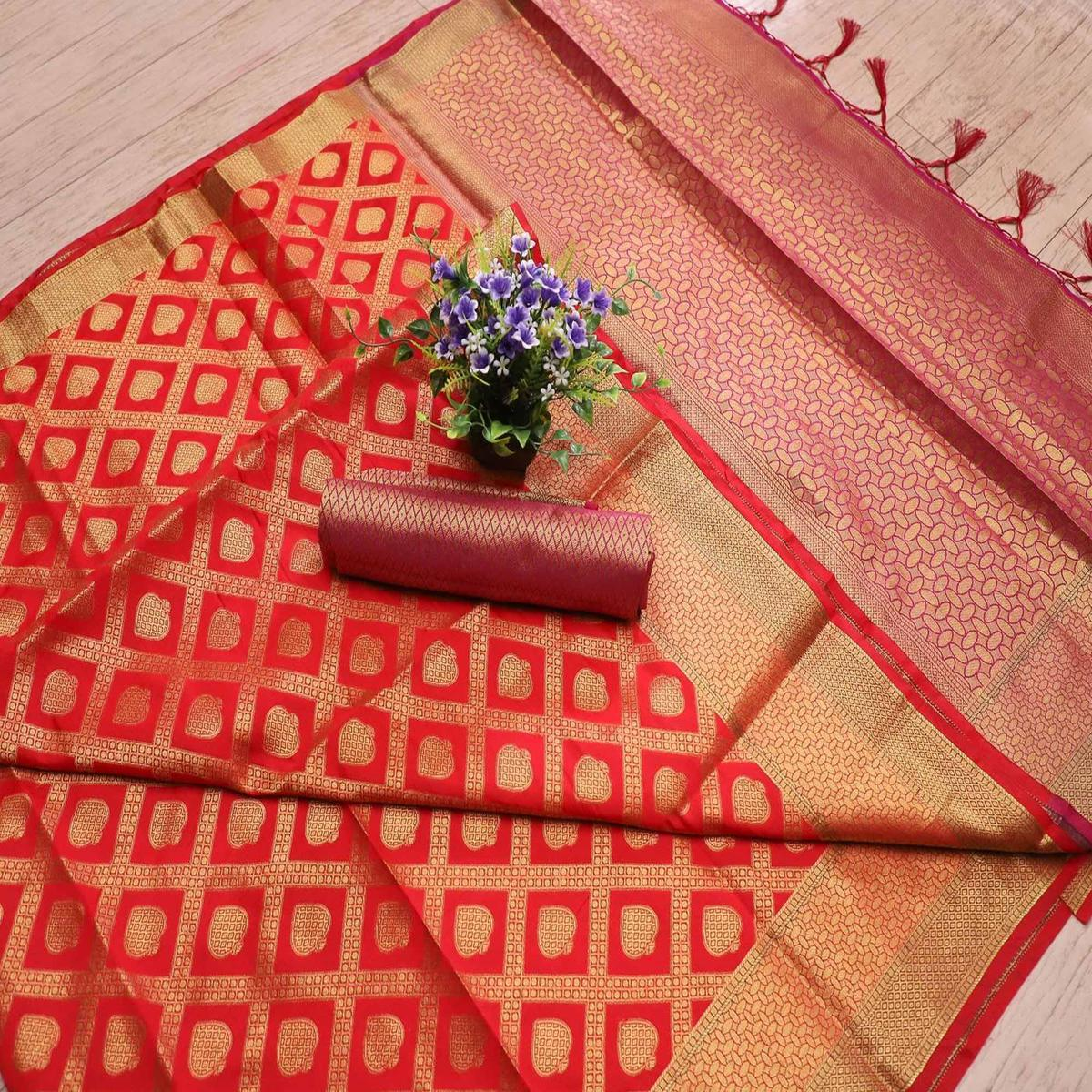 Marvellous Red Colored Festive Wear Printed Banarasi Silk Saree With Tassels
