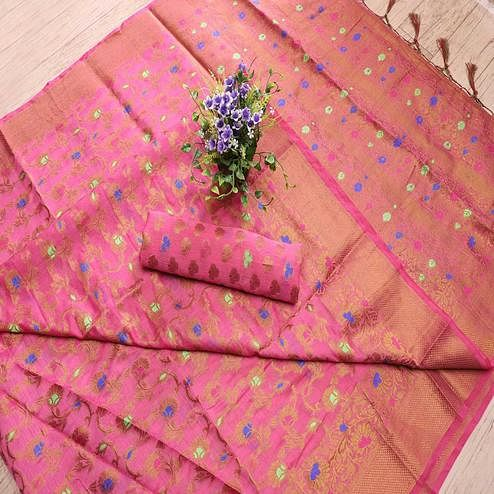 Flamboyant Pink Colored Festive Wear Printed Banarasi Silk Saree With Tassels