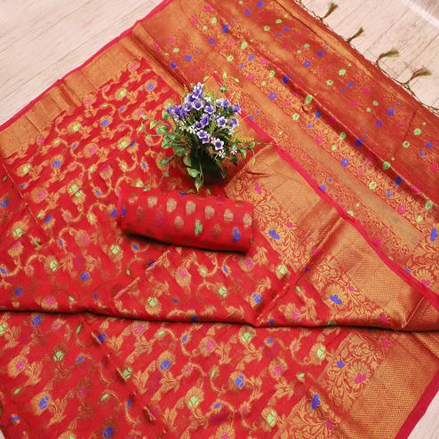 Pretty Red Colored Festive Wear Printed Banarasi Silk Saree With Tassels