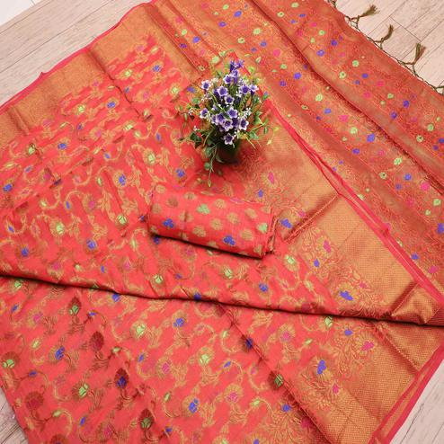Alluring Peach Colored Festive Wear Printed Banarasi Silk Saree With Tassels
