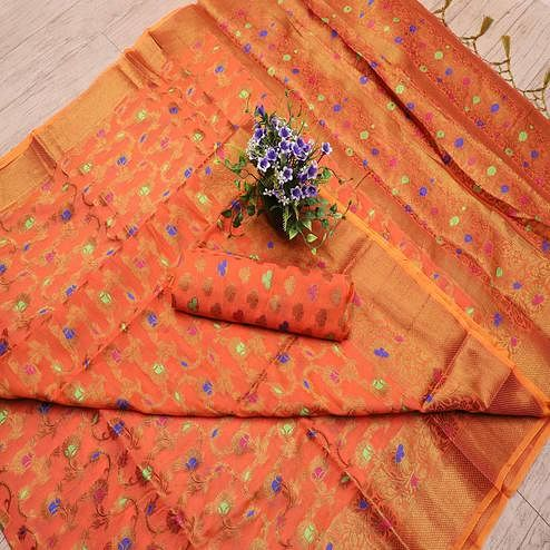 Sensational Orange Colored Festive Wear Printed Banarasi Silk Saree With Tassels
