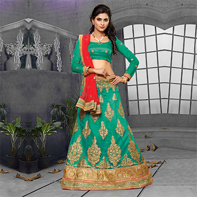 Firozi-Red Designer Embroidered Net Lehenga Choli