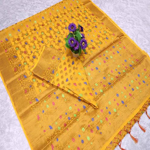 Engrossing Yellow Colored Festive Wear Printed Banarasi Silk Saree With Tassels