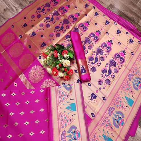 Gorgeous Pink Colored Festive Wear Printed Banarasi Silk Saree