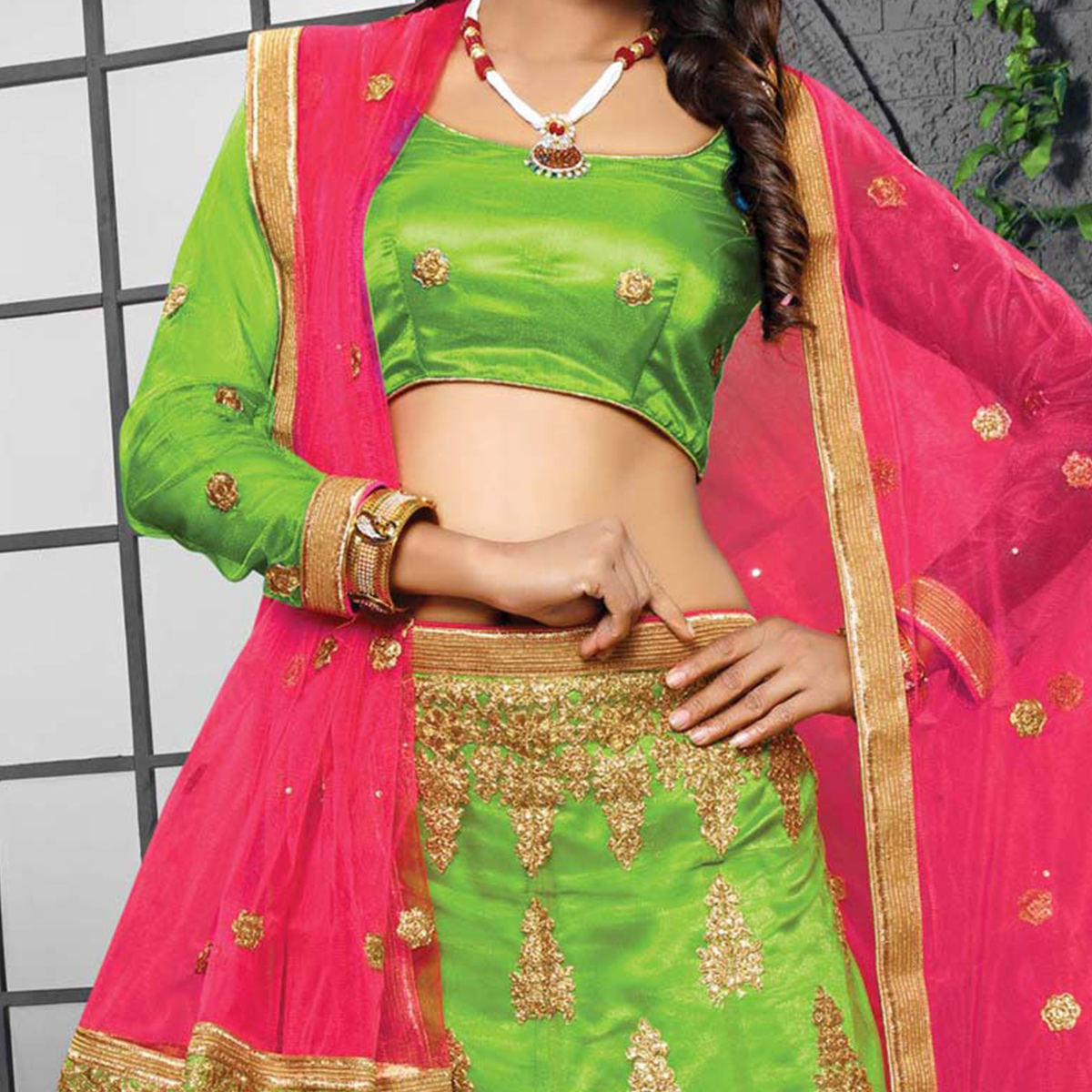 Parrot Green - Rani Designer Embroidered Net Lehenga Choli